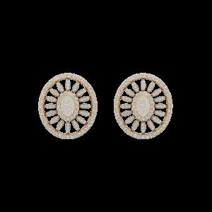 Oval Poise Diamond Stud Earrings