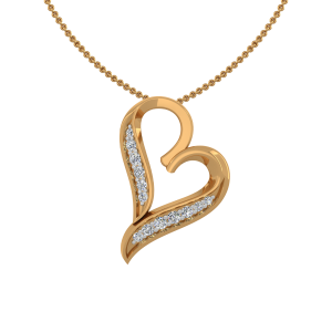 The Dazzling Heart Gold Diamond Heart Pendant