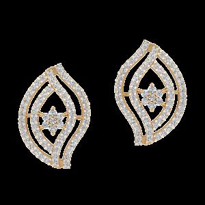 Jogging Leaf Diamond Stud Earrings