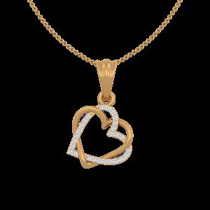 The Lacy Hearts Gold Diamond Heart Pendant