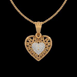 The Vogue Heart Gold Diamond Heart Pendant