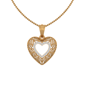 The Heartly Frame Gold Diamond Heart Pendant