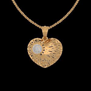 The Vibrant Hues Gold Diamond Heart Pendant
