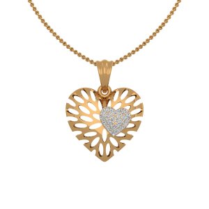 The Blossomy Heart Gold Diamond Heart Pendant
