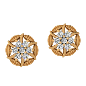 Flora Aura Diamond Stud Earrings