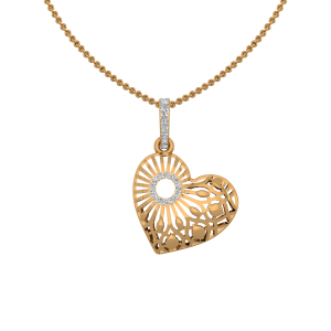 Fiery Heart Gold Diamond Heart Pendant