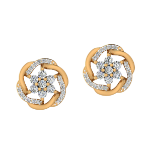 The Floral Flair Diamond Stud Earrings