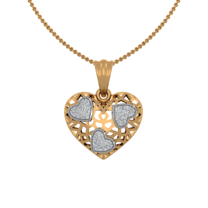 Hearts Station Gold Diamond Heart Pendant