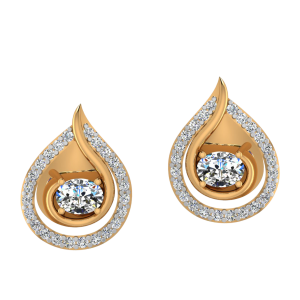 Twist N Drop Diamond Stud Earrings