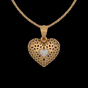 The Dramatic Gold Diamond Heart Pendant