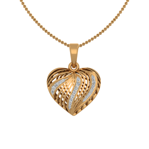 The Dashing Heart Gold Diamond Heart Pendant