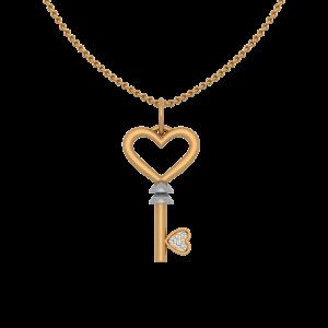 Key To Heart Gold Diamond Heart Pendant