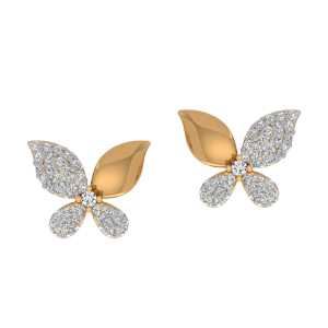 Happy Butterfly Diamond Stud Earrings