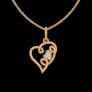 Lovely Love Gold Diamond Heart Pendant