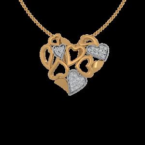 The Hearts Crochet Gold Diamond Heart Pendant
