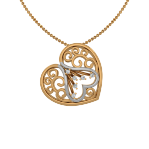 The Heart Art Gold Diamond Heart Pendant