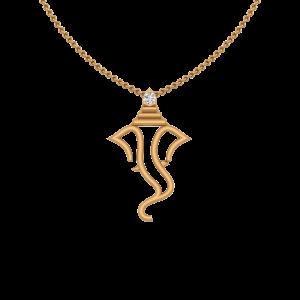 Auspicious Lord Ganesha Gold Diamond Pendant