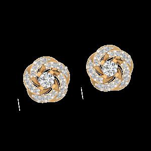 White Whirls Diamond Stud Earrings