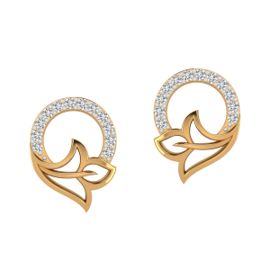 Floral Lace Diamond Stud Earrings