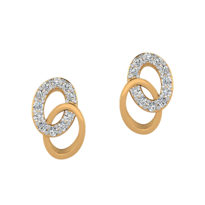 Oval Suave Diamond Stud Earrings