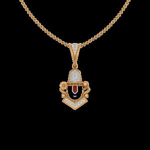 Auspicious Tirupati Balaji Gold Diamond Pendant
