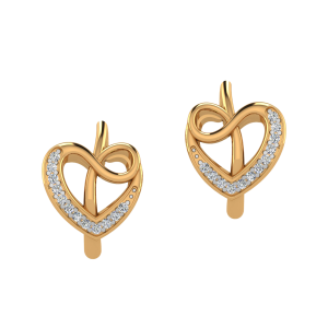 The Heart Waves Diamond Stud Earrings