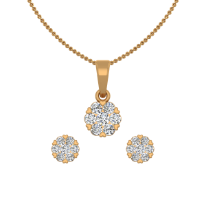 Blooming Heart Gold Diamond Pendant Set