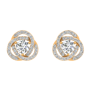 Whirl N Wave Diamond Stud Earrings