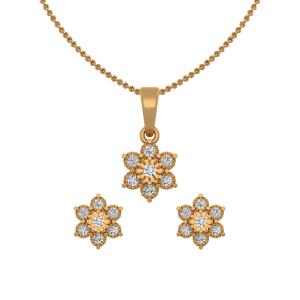 The Mystical Flowers Gold Diamond Pendant Set