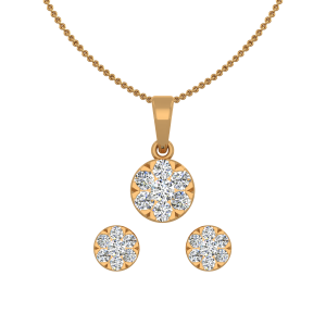 The Floral Fun Gold Diamond Pendant Set