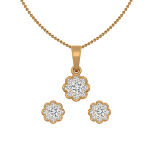 The Floral Blush Gold Diamond Pendant Set