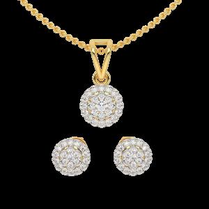 The Floral Blush Gold Diamond Pendant Set