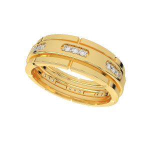 The Flames of Our Love Couple Band Diamond Ring