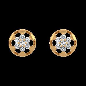 Floral Style Diamond Stud Earrings
