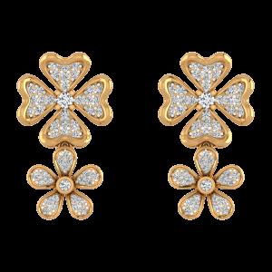 Floral Punch Diamond Danglers Earrings