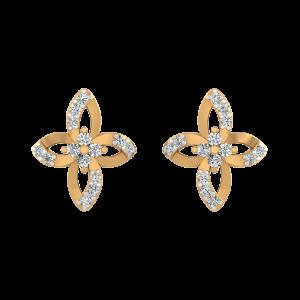 Floral Magic Diamond Stud Earrings