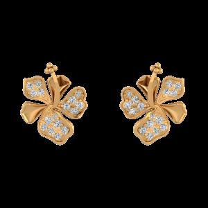 Fancy Floral Diamond Stud Earrings