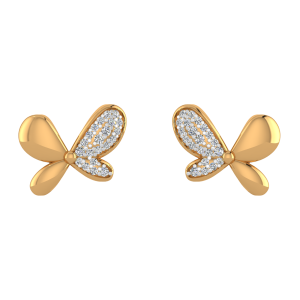 Butterfly Charm Diamond Stud Earrings