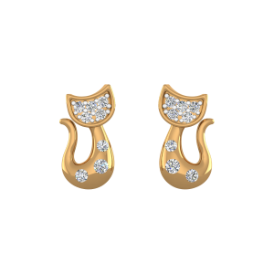 Kitty Treat Diamond Stud Earrings