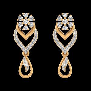 Floral Dazzle Diamond Dangle Earrings