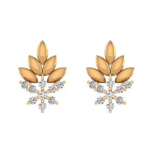Leafy Frenzy Diamond Stud Earrings