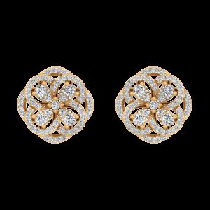 Golden Flower Diamond Stud Earrings
