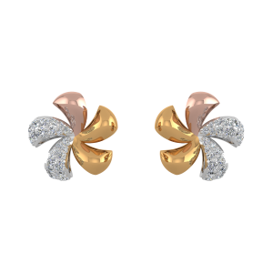 Fabulous Floral Diamond Stud Earrings