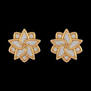 Fabulous Flower Diamond Stud Earrings
