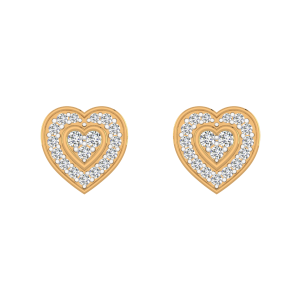 Heart In Heart Diamond Heart Earrings