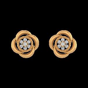 Floral Flow Diamond Stud Earrings