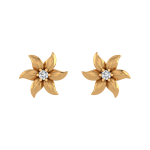 Floral Accents Diamond Stud Earrings