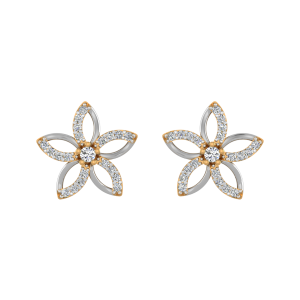 Lily Florals Diamond Stud Earrings