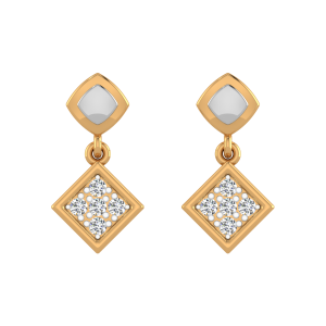 The Two Squares Diamond Drop Earrings