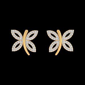 Butterfly Love Diamond Stud Earrings